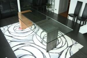table salle a manger bois acier et verre