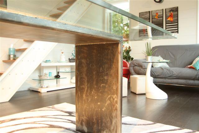 table salle à manger bois acier et verre