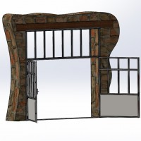 Porte de grange en acier brut et verre