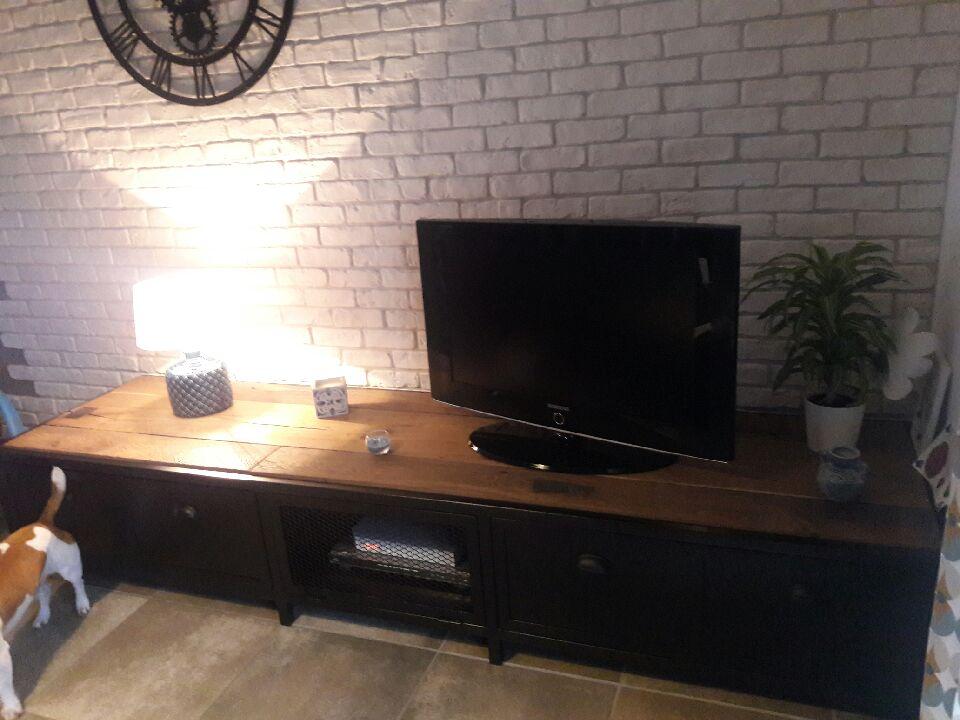 Meuble-TV mélange bois acier