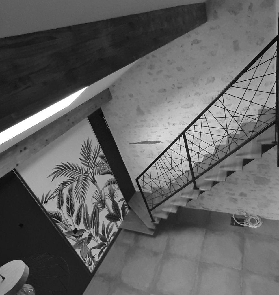 escalier-acier-bois quart tournant bas
